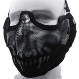 a490e2b41b514 Máscara Meia-face Com Proteção Orelha Caveira Preto branco