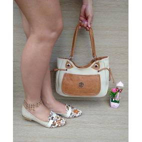 Combo Mujer Dama Zapatos Baleta Playa + Cartera Bolso Beige