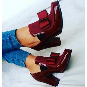 Zapatos Charol De Tacón Con Moño Moda 2017 Cómodos