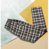 Pantalón Recto Escoses Elástico Cintura Drole