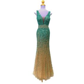 Vestido De Noche (seminuevo) En Tul Y Pedrería Turquesa
