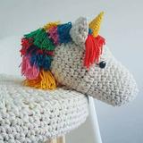 Bancos Madera Y Crochet Unicornios