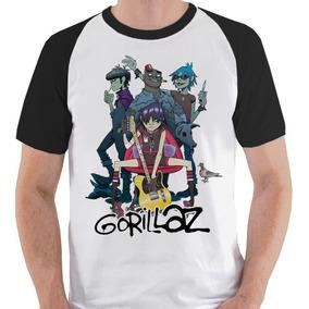 Camiseta Gorillaz Banda Membros Camisa Blusa Raglan
