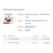 Entradas Backstreet Boys Vip Platinum
