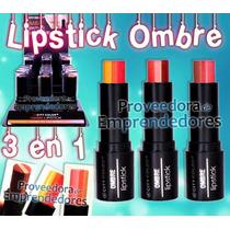 L-0037 Ombre Lipstick City Color 3 Colores Efecto Degradado