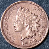 Un Centavo 1906 Eeuu Cabeza Indio Cobre Rara Buen Estado Ipy