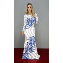 Vestido Lança Perfume Longo Floral Azul Oi17
