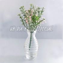 Vaso Vidro + Pick Flor Rosa Artificial Vasinho Arranjo 5 Und