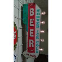 Anuncio Luminoso Tipo Antiguo Bar Cerveza Fria Aqui Retro La