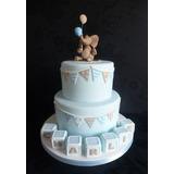 Torta De 2 Pisos Con Piso Falso + Deco Elefantito
