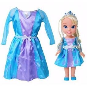 Fantasia Original + Boneca Frozen Vestido Infantil Promoção