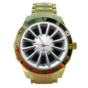 Relógio Dourado Roda Powertech Ômega 5758g Impacto Relógios