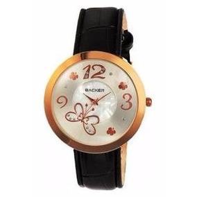 Relógio Backer 1538112 Pulseira Couro Preto Fundo Branco