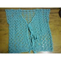 Chaleco Turquesa De Verano, Tejido A Mano Al Crochet