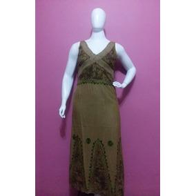Vestido Longo Plus Size Com Renda Em Detalhes 100% Algod