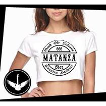 Blusa Cropped Matanza Banda Country Rock Camisa Feminina