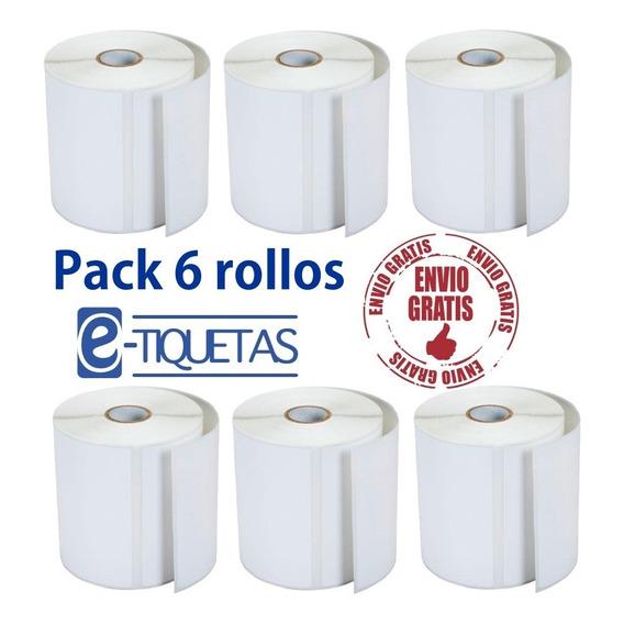 6 Rollos Etiquetas Autoadhesivas Ilustración 100x100 X 500u