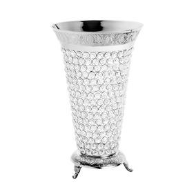 Vaso Com Pé De Ferro E Cristais Prateado 23x23x37cm