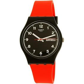 Swatch Mens Gent Gb754 Red Silicone Quartz Watch
