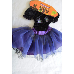 Disfraz De Niña Brujita Halloween, Muertos Talla 2 Leotardo