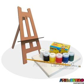 Kit Pintura Infantil C/ Mini Cavalete +tintas+1 Tela +pincel