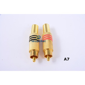 Kit 100 Plug Rca Macho Metalico Dourado Mola 8mm