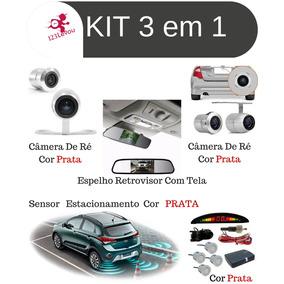 Kit Fret Gratis Sensor Estacionamento Ré Sensor Camera Prata