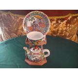Mini Te De Porcelana China Con Soporte 5 Piezas De Coleccion
