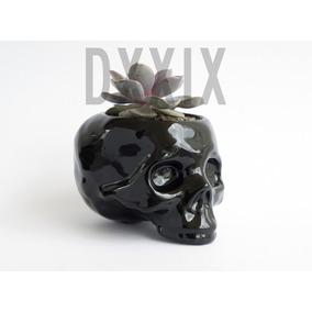 Maceta Ceramica Craneo Calavera Skull Negro