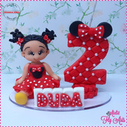 Topo De Bolo Personalizado Biscuit Aniversario Minnie 2