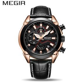 Relógio Masculino Social Couro Dourado Luxuoso Promoção