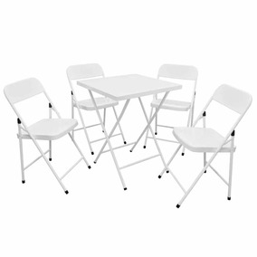 Jogos Conjuntos Mesa Bar Dobrável Aço Com 4 Cadeiras