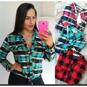 713df0ed97 Kit 5 Blusas Camisa Xadrez Feminina Frete Grátis