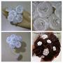 Flores Tecido Noiva Mini Rosas Strass Arranjo Kit8un