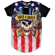 Camiseta Camisetao Masculino Oversized Longline Guns N Roses