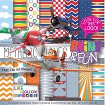31 Itens Kit Digital Editavel Scrapbook Avião Plane Pra Arte