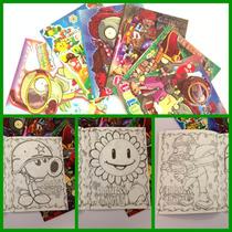 Fiesta Plantas Vs Zombies Libro Colorear Tamaño Carta 20 Pzs