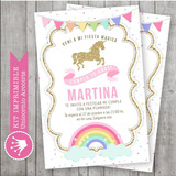 Kit Imprimible Unicornio Arcoiris Pastel Candy Invitación 2