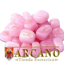 Runas De Cuarzo Rosa-con Manual Y Bolsa De Tela