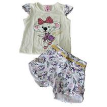Conjunto Infantil Menina Lilica E Minie Festa Short Camiseta