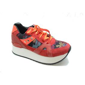 Zapatillas De Mujer Marca Lola Roca, Color Naranja Fluo