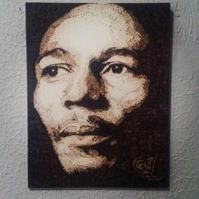Bob Marley Tela Em Madeira Pirografia