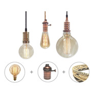 6 Portalamparas Metalico + 6 Lamparas Filamento + 10m Cable Enviogratis