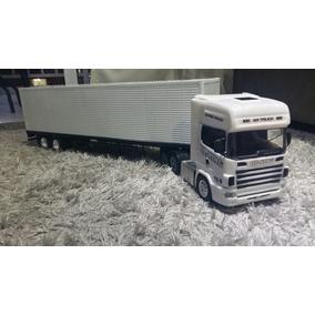 Caminhão De Controle Remoto Scania 124 Baú Branco