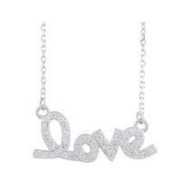 Collar C/dije Cristal Love En Plata Fina Recubierto De Rodio