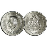 Moneda Hidalgo Cinco Pesos 1951 1952 1953 Plata Ley 720 29.9
