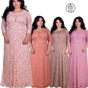 Vestido Festa Longo Plus Size, Sob. Medida 48 A 58 De Renda