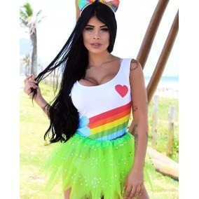 Body Carnaval Fantasia Unicornio Arco Iris Supermam Maravil