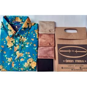 Camisa Masculina Em Viscose + Carteira De Couro Kit