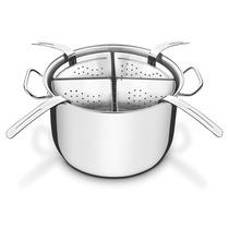 Jogo Cozi Pasta Panela Em Aço Inox Ø 30cm Para Massas